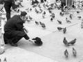 Feeding pigeons in Trafalgar Square